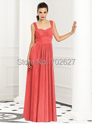 2015 A Line Bridesmaid Dresses Coral Chiffon Sweetheart Sleeveless Straps Backless Zipper Ruffle Floor Length Prom Dress Dessy(China (Mainland))