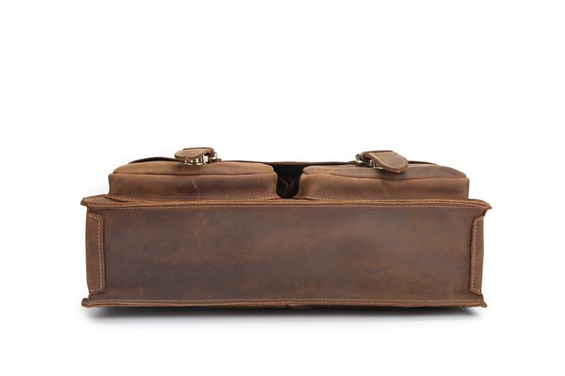 NEWEEKEND Genuine Crazy Horse Cowhide Leather 16 Inch Handbag Male Man Men's Crossbody Laptop iPad Briefcase Portfolio Bag 1061