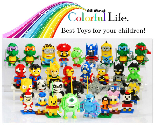 LOZ Blocks Action Figure Diamond Building Blocks The Avengers Minions Pokemon Mario Spongebob Mickey 3D Bricks Toy All 92 models(China (Mainland))