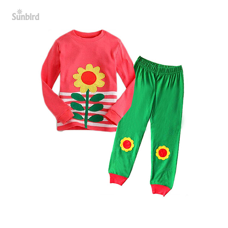 JQ-139, flower, 6sets/lot, Children girls Pajamas, Sleepwear, long sleeve clothing sets for 2-7Y, 100% cotton jersey<br><br>Aliexpress