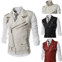 2014 New Brand Spring Large Lapel PU Leather Zipper Front Fly Mens Suits Vest Casual Waistcoat Fashion Jacket for Men M-XXL(China (Mainland))