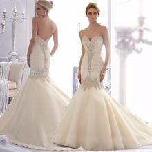 Elegante custom made oragnza sweetheart bridal gown corte dei treni floor-lunghezza piega champagne sirena abiti da sposa 2015(China (Mainland))