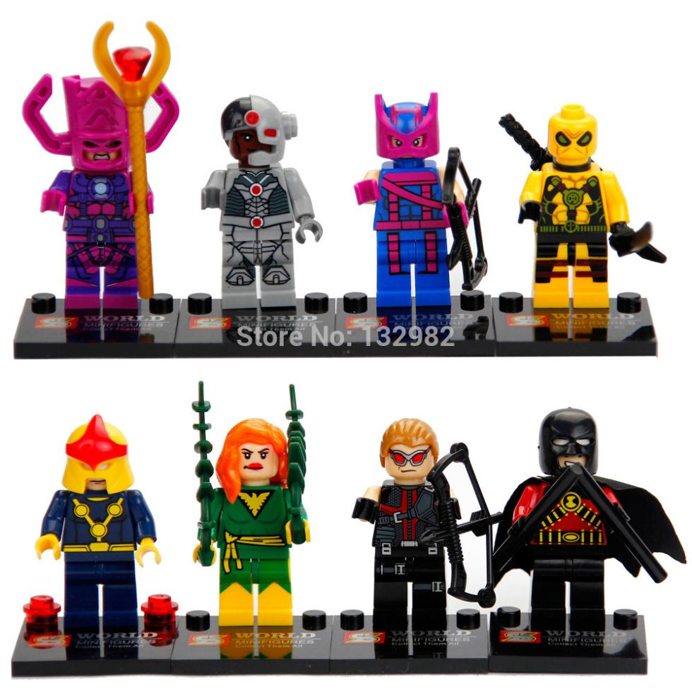 SY Minifigures Building Toy Kids DIY Figures Super Heroes Black Widow Hawkeye Deadpool Poison Ivy Galactus 8set/lot(China (Mainland))