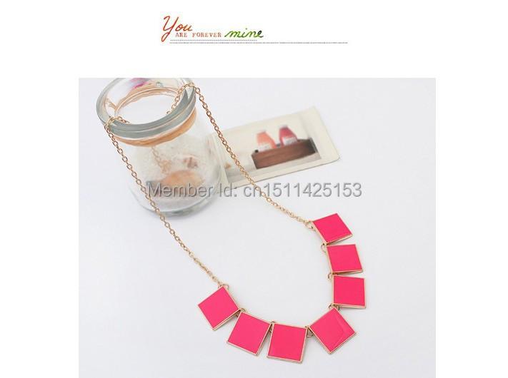 fashion trendy personality long resin pendant necklace alloy necklace fashion jewelry women, 3pcs/lot(China (Mainland))