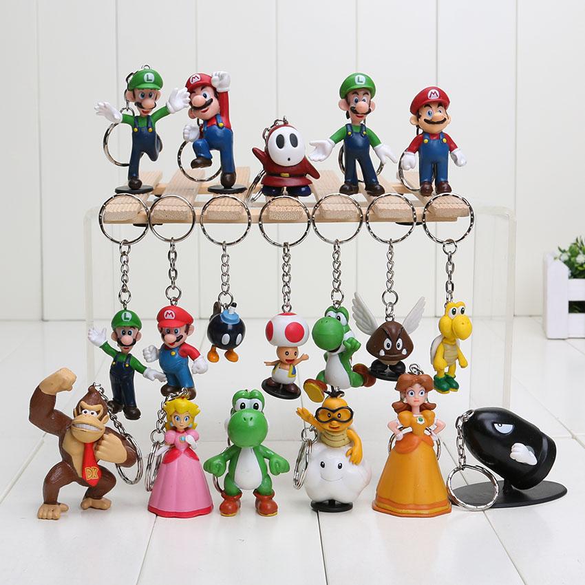Super Mario keychain Bros Luigi Action Figures 18pcs/set new arrival youshi mario Gift OPP(China (Mainland))