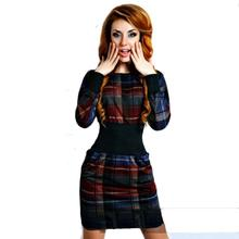 Fashion Women Plaid Print Dress Vintage Tartan Party Dresses Women's Casual Office Pencil Dress Vestidos Lady Bodycon Mini Dress