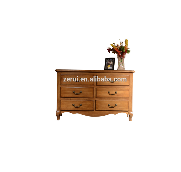 Solid oak furniture antique color wide 6 drawer chest(China (Mainland))