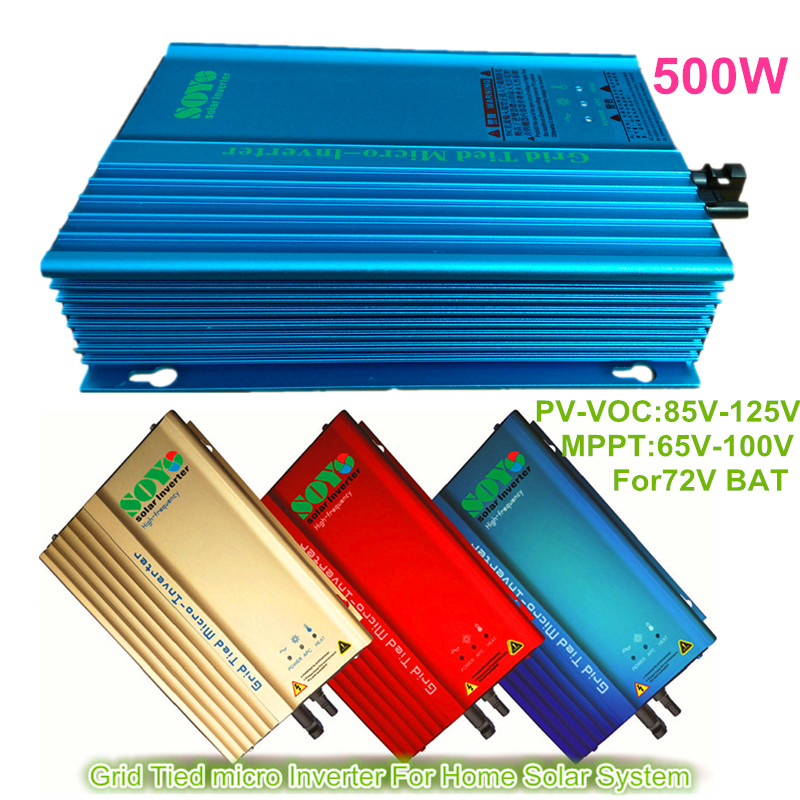 500W Grid Tie Photovoltaic inverter PV-Voc input 85-125v AC120V or AC230V 50HZ or 60Hz For 72V Battery(China (Mainland))