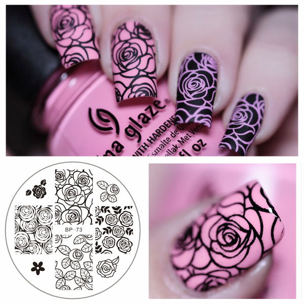 HOT 1 Pc BORN PRETTY BP73 Rose Flower Nail Art Stamp Template Image Plate BP Nail Stamping Plate(China (Mainland))