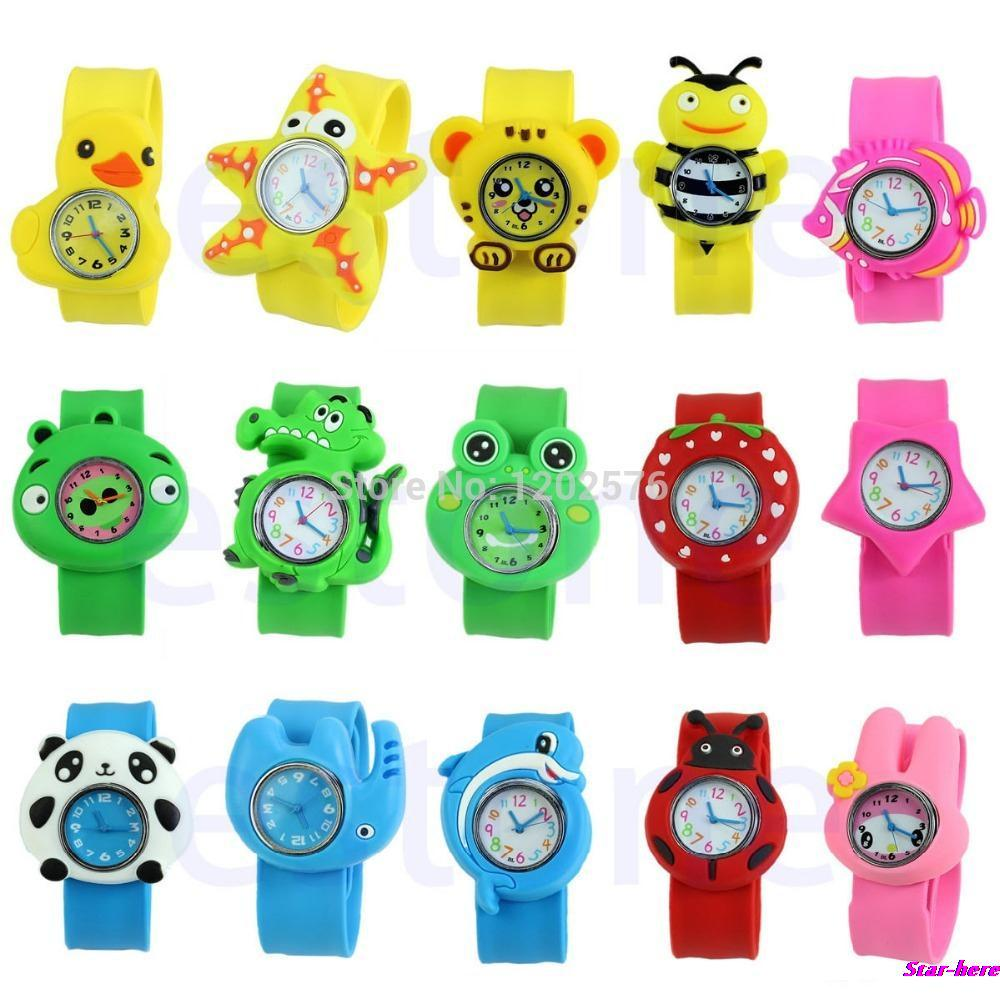 Cute Cartoon Unisex Children Kid Sports Bendable Rubber Strap Quartz Wrist Watch Free Shipping