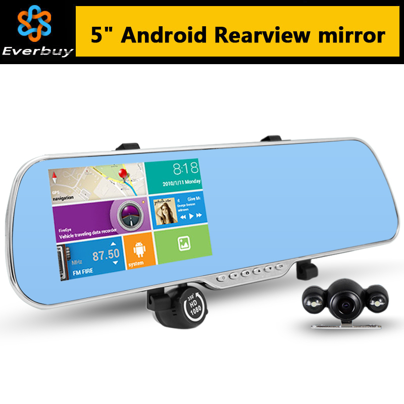 New 5 inch Android Rearview Mirror Car GPS navigation Rear view Full HD 1080P car dvrs Daul camera video recorder vehicle gps(China (Mainland))