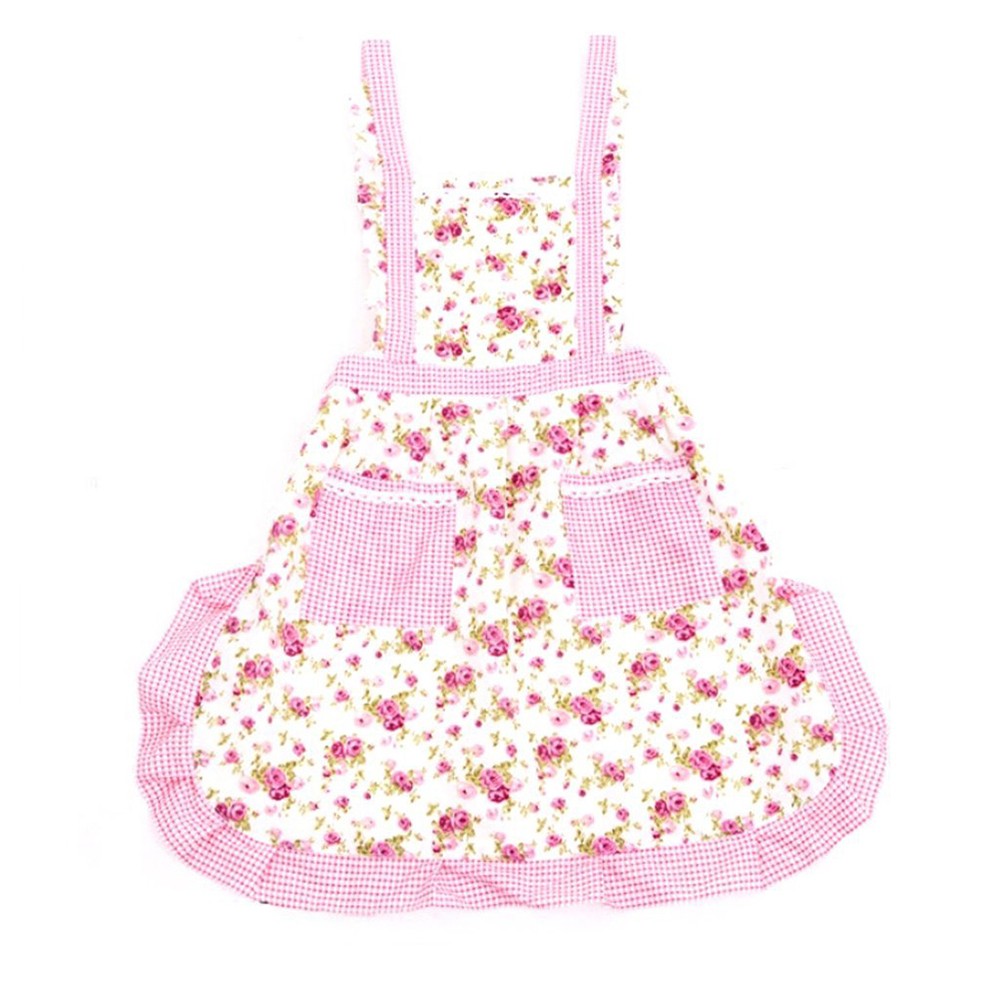 Rose Flower Printing Shoulder Belt Style Sleeveless Women's Kitchen Cooking Apron with Pocket (Pink)(China (Mainland))