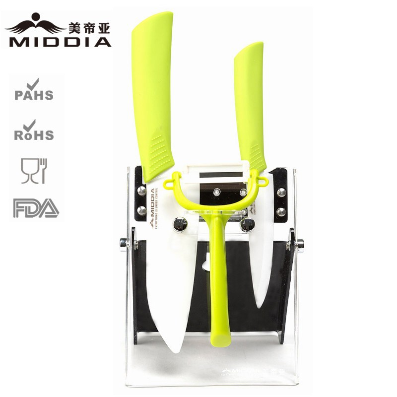 Buy Middia 4pcs ceramic kitchen knife set with foldable block ceramic paring knife utility knife peeler for Kitchen Utensils cheap