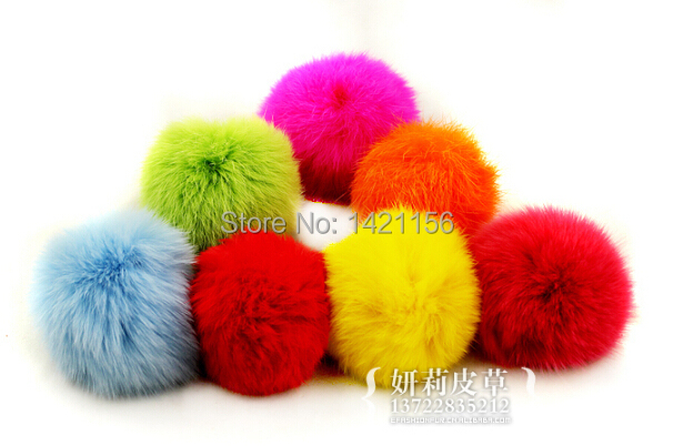 50PCS/lot 100% real rabbit fur pompoms 10cm for Beanies hats/knitted caps/key chains rabbit fur balls free shipping(China (Mainland))