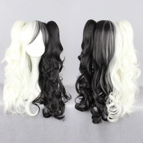 HOT sell Free Shipping >>>curlyClip-In ponytailsThe broken 2 projectile woman black and white cos wig DS(China (Mainland))