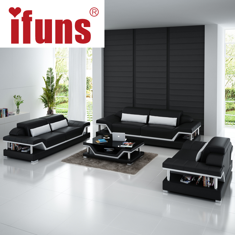 IFUNS Modern Sectional Sofa Genuine Italian Leather U Shaped Luxury Sofa Sets