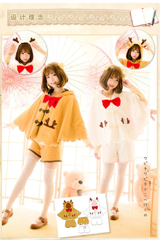 Princess sweet lolita coat Lovely claw clasp elk lulu with hood woolen cloth cloak SE217SE218-1(China (Mainland))