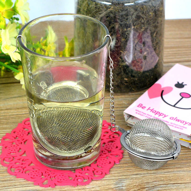 1Pcs Stainless Steel Sphere Locking Spice Tea Ball Strainer Mesh Infuser Tea Strainer Filter Infusor Soup Ball(China (Mainland))