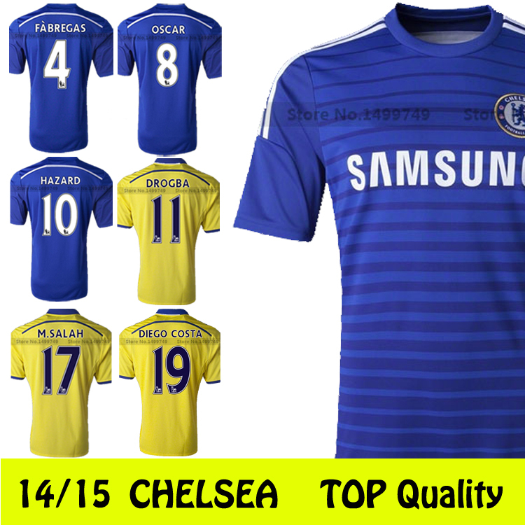 2015 Best Quality Chelsea Jerseys Camisa Chelsea Jersey 14 15 Soccer Jerseys Chelsea FC home / away OSCAR HAZARD DROGBA Chelsea(China (Mainland))