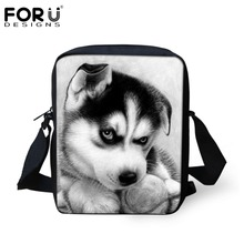 FORUDESIGNS Huskies Men Women Messenger Bags for Ladies Casual Crossbody Bags,Children Small Travel Shoulder bag Bolsos Mujer(China (Mainland))