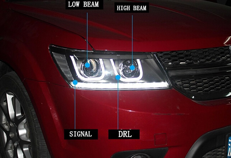 Car Styling FREEMONT LED Head Lamp for FIAT FREEMONT 2009-2014 LED Headlight angel eye headlight BI XENON front accesspories