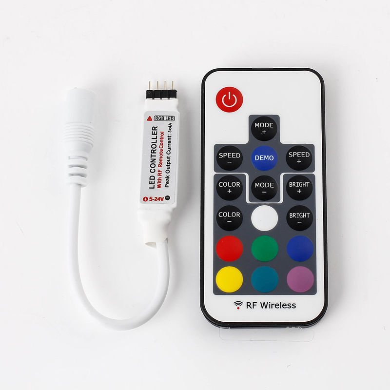 EPBOWPT Mini 17 Keys DC 5V-24V 12A RF Wireless Remote Dimmer RGB LED Controller 22 Modes for 3528 5050 Flexible LED Strip Lights(China (Mainland))
