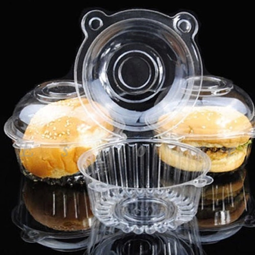 Free Shipping 100pcs Clear Plastic Single Cupcake Cake Case Muffin Dome Holder Box Container(China (Mainland))