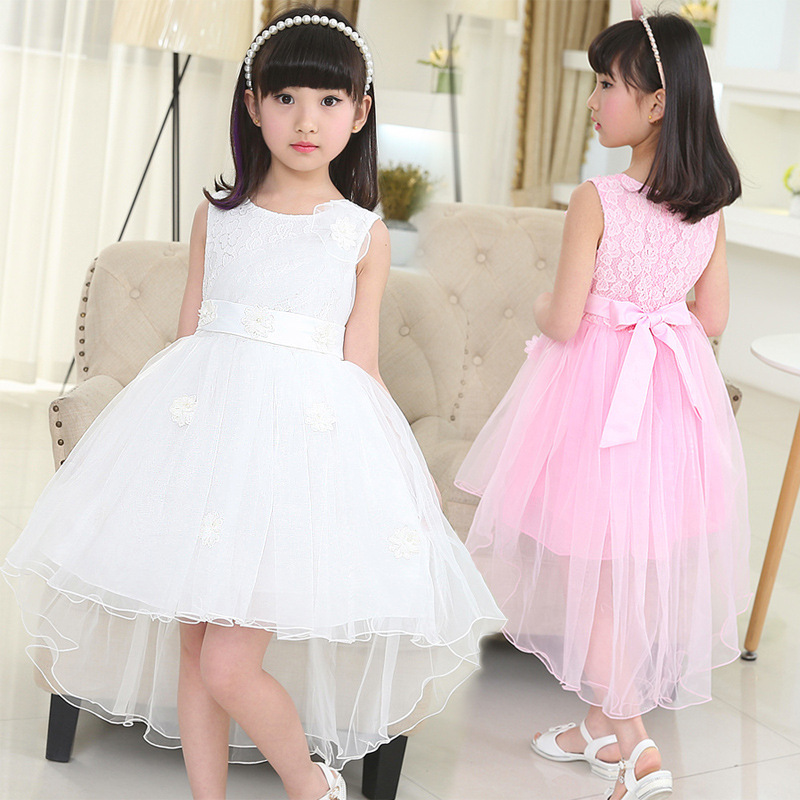 lace mesh little teenage girls party dress layered spring summer 2016 long girl princess gown dress white pink sundress clothes(China (Mainland))