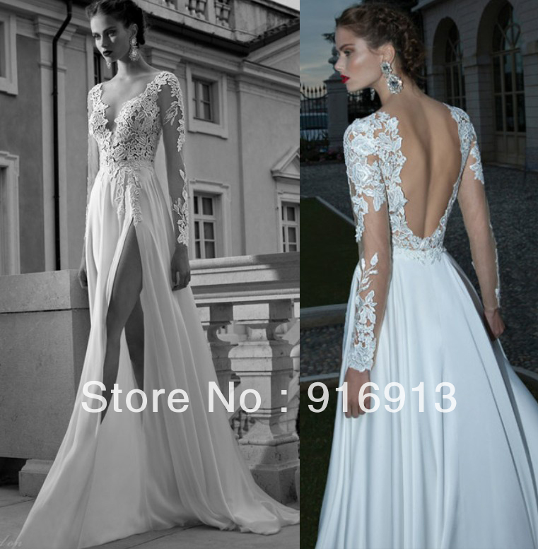 A line deep v neck side slit sexy backless wedding dress for Wedding dress with sheer sleeves