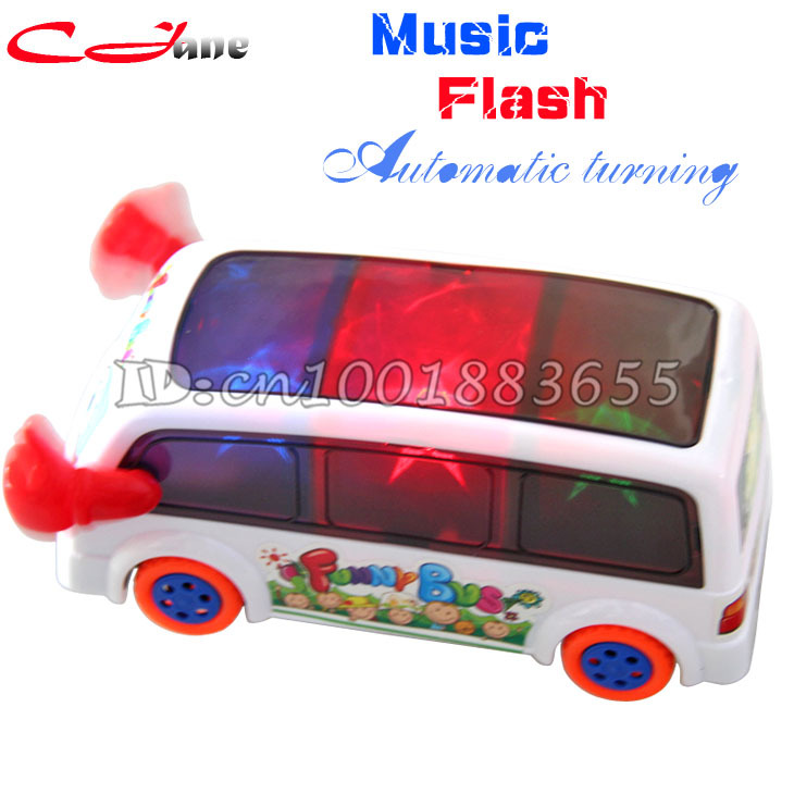 Free shipping, the latest 3D lighting effects bus car toy lights automatic steering music car / action toy / transport bus(China (Mainland))
