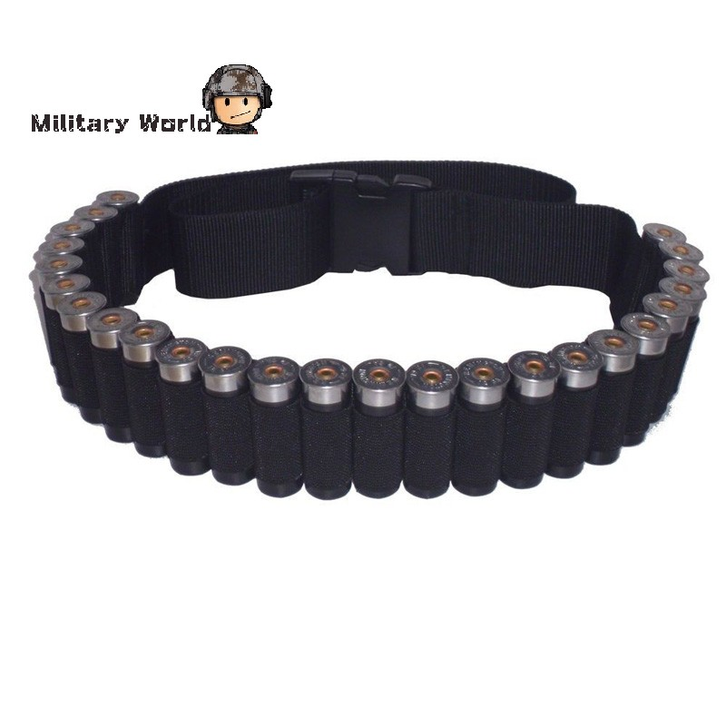 New Arrival Tactical Military 25 Round Shell Bullet Ammo Carrier Waist Belt Airsoft Hunting 600D Nylon