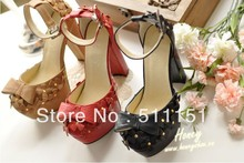 Free shipping high quality new high- heeled sandals , Noble woman shoes , sweet bow lady 's shoes , fashion shoes(China (Mainland))