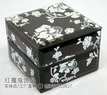 American decoration accessories furniture decoration black flower jewelry box jewelry box