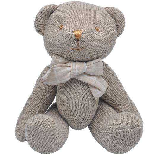 New Stuffed Kids Toy 25cm Bear Big Bow Tie Knitting Wool Skin Plush Toy Birthday Gift Free Shipping Hot Sale high quality safety(China (Mainland))