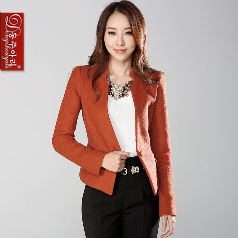 Women plus size woolen outerwear long-sleeve one button women's coat slim elegant all-match jackets lady overcoat - Fashion and Romantic Store store