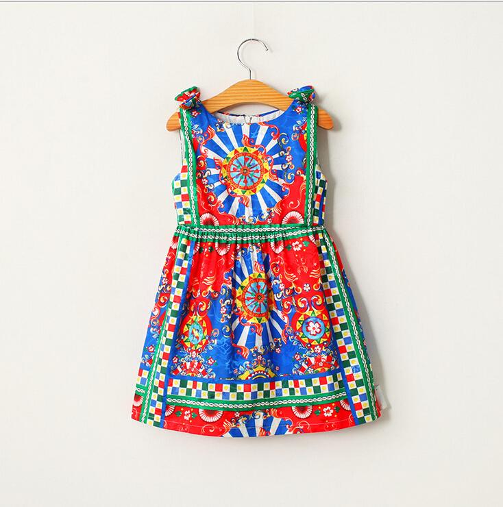 2016 Children Girls Cotton National Pattern Summer Vest Dresses, Princess Kids Unique Dress 6 pcs/lot,Wholesale(China (Mainland))