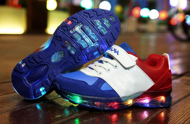 2015 Fashion LED Lighted USB recharge children shoes new brand sneakers hot sales boys girls kids