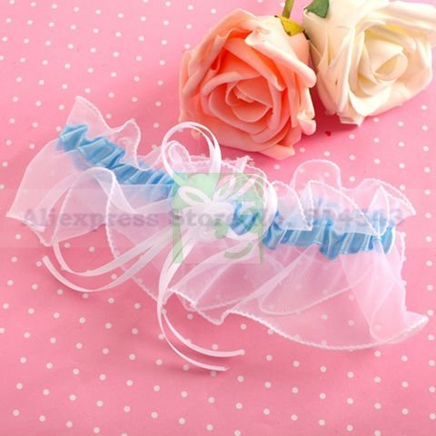 Free Shipping Retail Special Wedding Party Stuff Supplies Accessory Sky Blue Romantic Sexy Bridal Garters with Bow for Wedding
