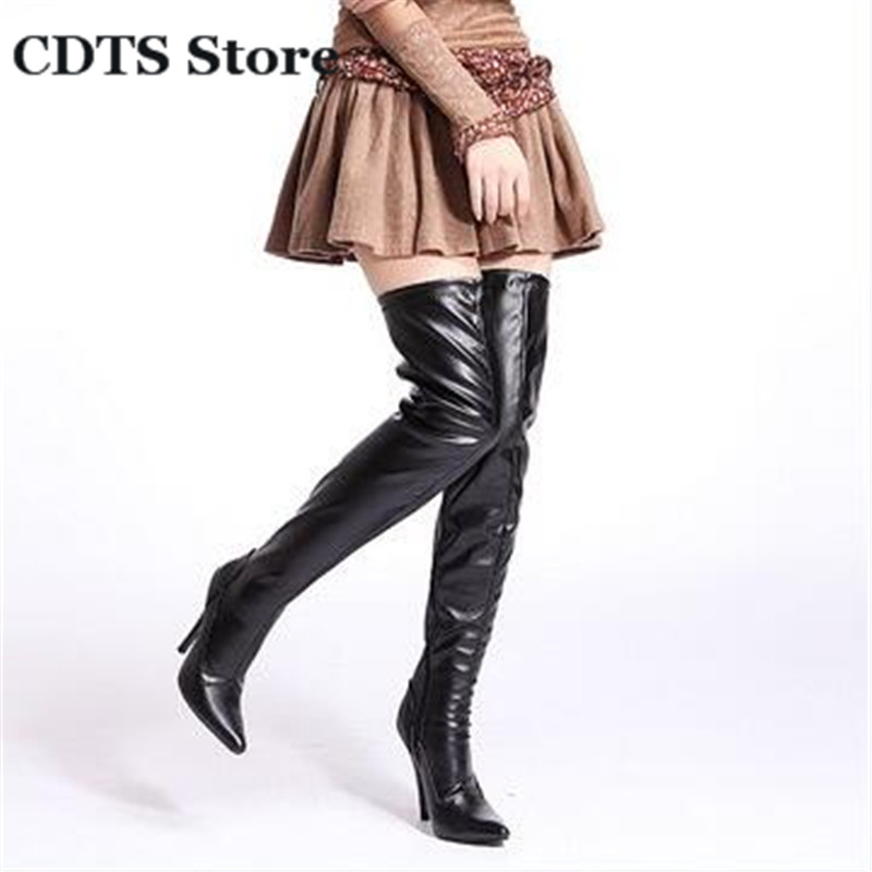 CDTS Plus:35-44 Spring/Autumn 13cm thin heels martin Over-The-Knee-high boots women shoes Crossdresser Party Motorcycle pumps<br><br>Aliexpress