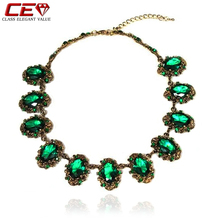 Brand Bohemian Choker Necklace Green Crystal Red Necklaces For Women Fine Jewelry Vintage Necklace Collier Kolye Bijoux Femme(China (Mainland))