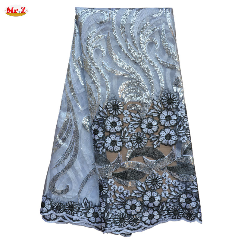 Mr.Z African French Lace Fabric High Quality African Lace Fabric For Wedding 2015 French Lace Fabric With Sequins Mesh Fabric(China (Mainland))
