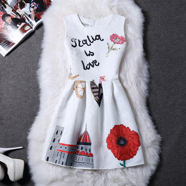 Girl's House Flower Letter Print Lovely Princess Dress for Party Ladies Floral Summer Dress Women's Clothing & accessories(China (Mainland))