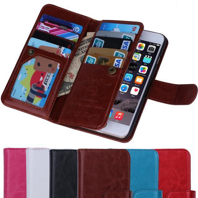 Magnetic 2 in 1 Wallet Leather With 9 Card Holders+Cash Slot+Photo Frame Phone Case for Apple iPhone 6 4.7''&For iPhone 6 Plus(China (Mainland))