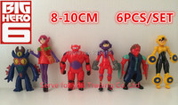 2015 hot sale 6PCS/set 8-10cm Big Hero 6 Hiro Baymax PVC Action figure toys Baymax doll toys Christmas gift toy,Free Shipping