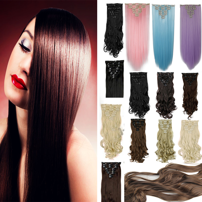 """26"""" 66cm Women Long Straight 8 Pieces Clip In On Full Head Hair Extensions 11Colors Brown Blonde Blue Hair(China (Mainland))"""