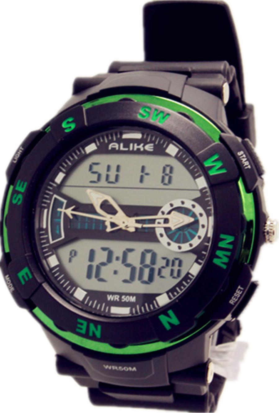 New Arrivals 50M Waterproof Swimming Watch Sport Watches for Men Women Rubber Watches ALIKE Green LED Light Analog Digital Watch<br><br>Aliexpress