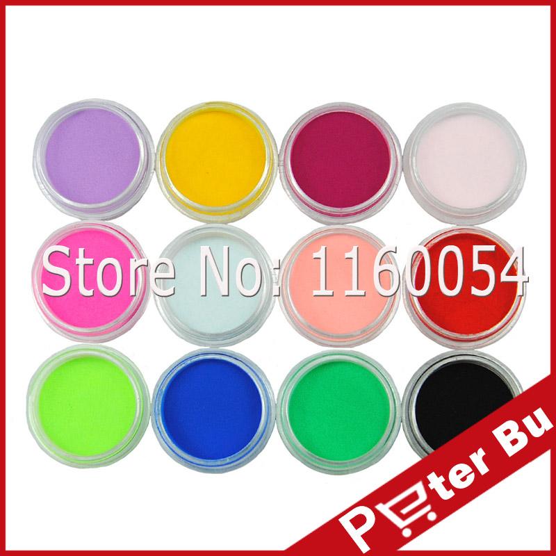 free shipping New Pro 1set/12 Color acrylic Powder liquid Glitter Nail Art Tool Kit UV