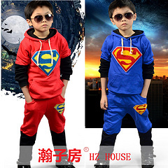 2014 Autumn Boys Tracksuits Superman Hoodies and Casual Pants Top Quality Hot Sale LS84<br><br>Aliexpress