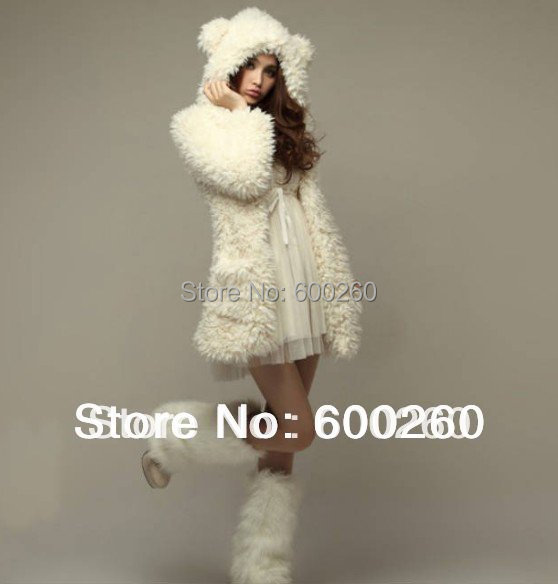 autumn and winter women's coat jacket stuffed teddy  cure bear ears hooded wool coat for women
