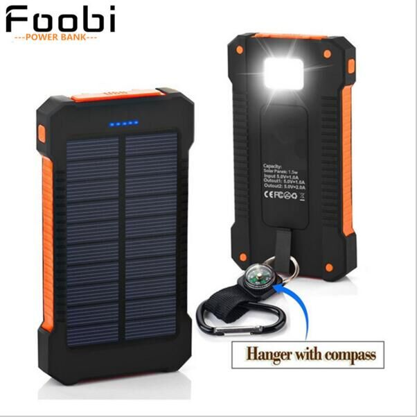 Waterproof Solar Charger 20000mAh Power Bank Solar Battery Charger Dual USB with LED Flashlight with Compass for CellPhones(China (Mainland))